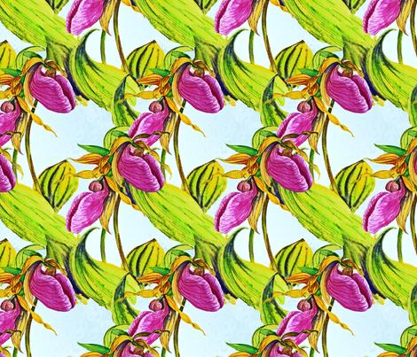 Pink Lady Slippers fabric by helenklebesadel on Spoonflower - custom fabric
