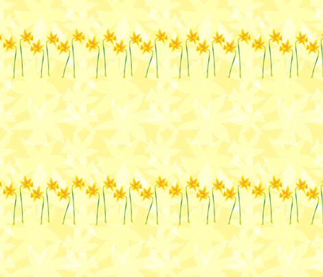 Daffodils in a row.  Copyright LdJ design 2010 fabric by ldj_design on Spoonflower - custom fabric