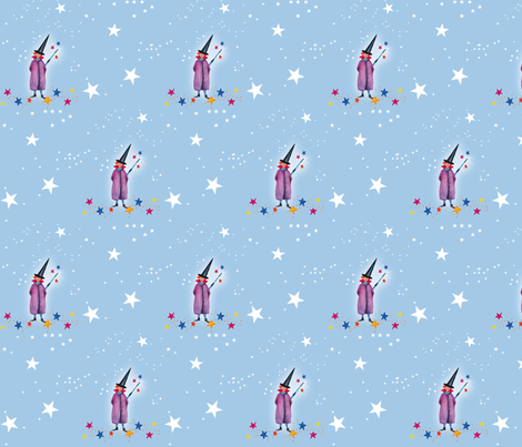 Little_Wizard_blue fabric by evamarion on Spoonflower - custom fabric