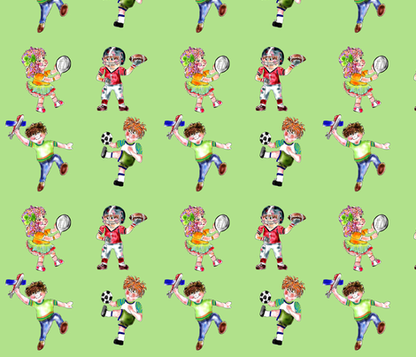 Children Playing fabric by rosannahope on Spoonflower - custom fabric