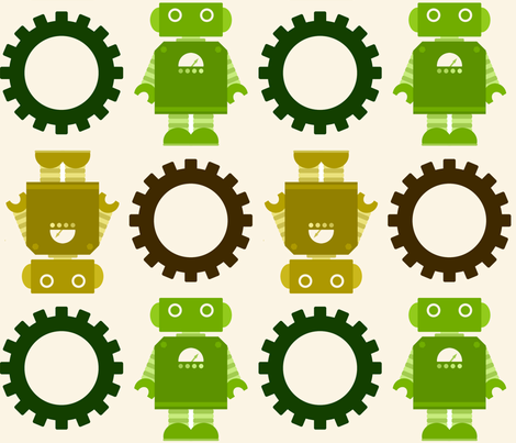 Robots and Gears - no direction. :) fabric by jesseesuem on Spoonflower - custom fabric