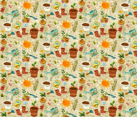 Happy Gardening fabric chesirella Spoonflower