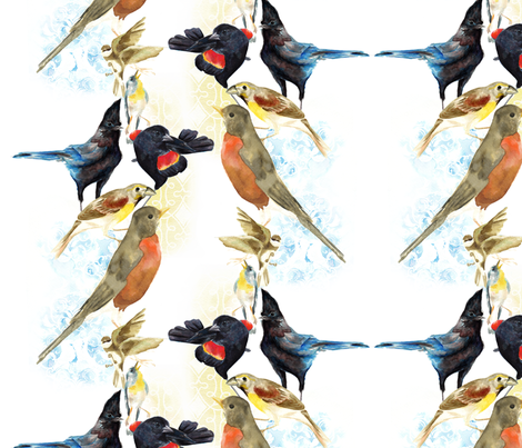 Painted Birds fabric by daynagedney on Spoonflower - custom fabric