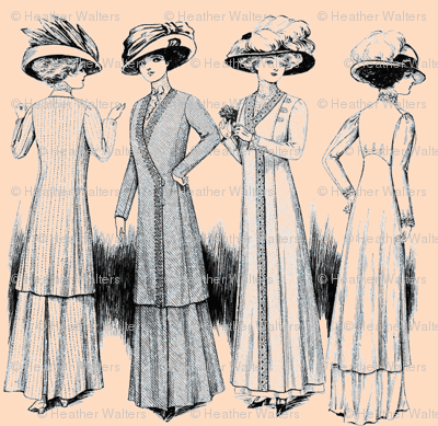 Victorian Ladies-Pink/Blue