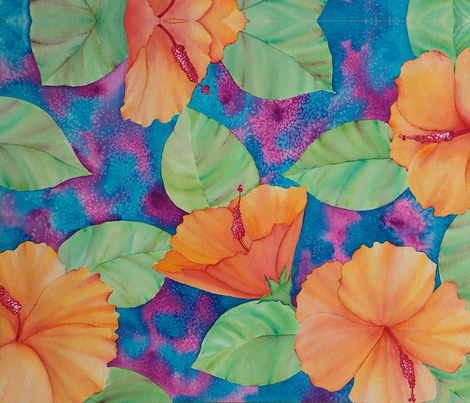 e. HIBISCUS fabric by edyta on Spoonflower - custom fabric