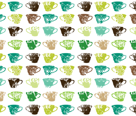 green teacups fabric by thickblackoutline on Spoonflower - custom fabric