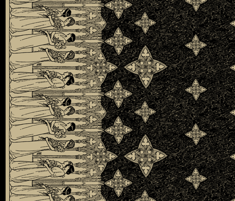 Maiden Border (antique + dark) fabric by ophelia on Spoonflower - custom fabric