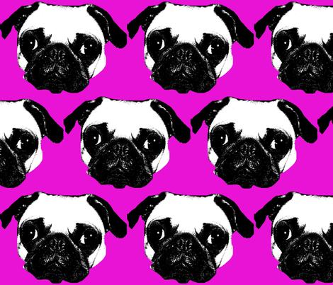 Pug in Fuchsia fabric by reistrangelove on Spoonflower - custom fabric