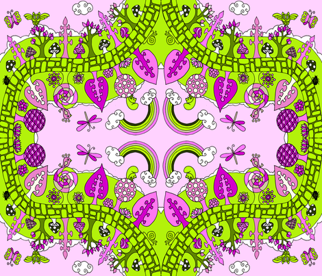 garden_happiness pink & green  fabric by uzumakijo on Spoonflower - custom fabric