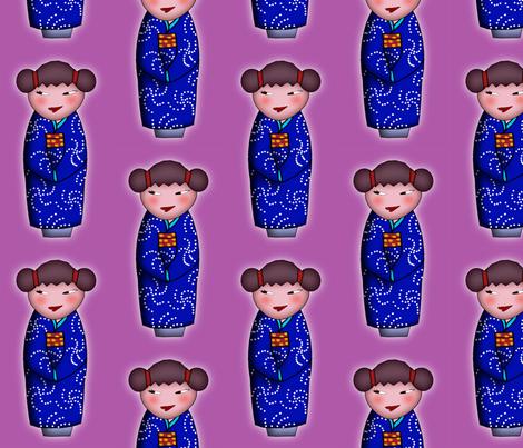 Cheeky Kokeshi fabric by leeleeandthebee on Spoonflower - custom fabric