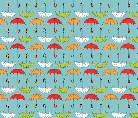 PA117 Umbrellas Blue fabric by natalie on Spoonflower - custom fabric