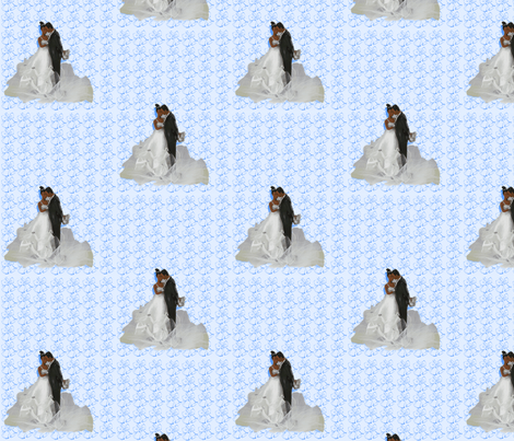 Bride and Groom-Blue-169 fabric by kkitwana on Spoonflower - custom fabric