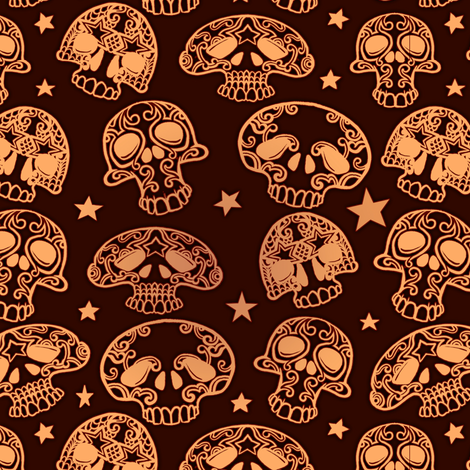 Small Skulls Dark fabric by jadegordon on Spoonflower - custom fabric