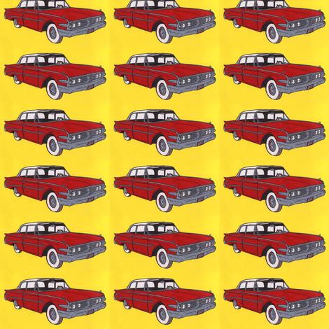 1960 Edsel Ranger 2 door sedan In red fabric by edsel2084 on Spoonflower - custom fabric