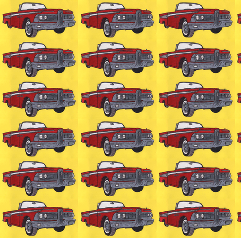 Red1959 Edsel Corsair Convertible with top down  fabric by edsel2084 on Spoonflower - custom fabric