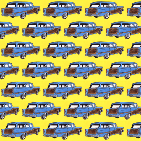 1958 Edsel Bermuda woody wagon on yellow background fabric by edsel2084 on Spoonflower - custom fabric