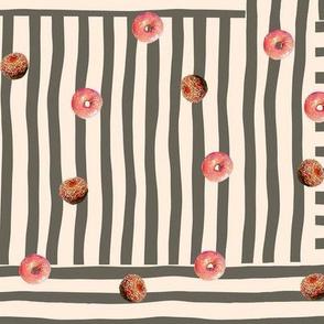 Doughnuts Lover's  Stripe - gray -