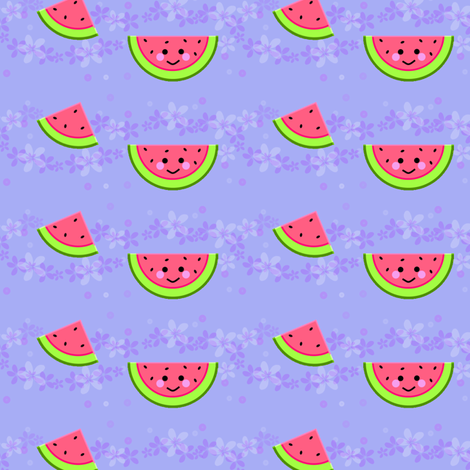 Watermelon! - Hawaii Kawaii Sweet Fruits - © PinkSodaPop 4ComputerHeaven.com fabric by pinksodapop on Spoonflower - custom fabric