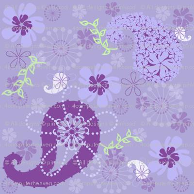 Purple Paisley Flower Garden Retro!  - © PinkSodaPop 4ComputerHeaven.com