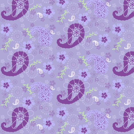 Purple Paisley Flower Garden Retro!  - © PinkSodaPop 4ComputerHeaven.com fabric by pinksodapop on Spoonflower - custom fabric