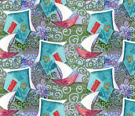Vacation Cottage and Sail Boat fabric by helenklebesadel on Spoonflower - custom fabric