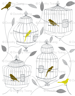 Olive Birds and Cages