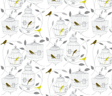 Olive Birds and Cages fabric by dorolimited on Spoonflower - custom fabric