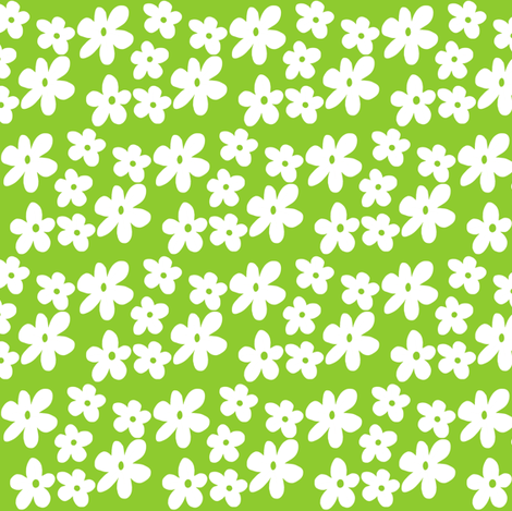 Ditsy Green Daisies fabric by toni_elaine on Spoonflower - custom fabric