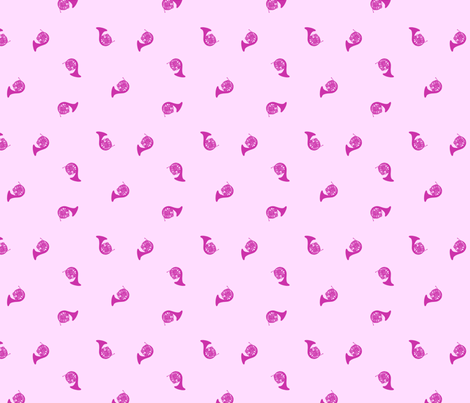 Scattered Pink French Horns fabric by marchingbandstuff on Spoonflower - custom fabric