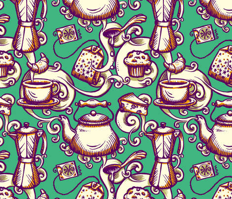 Electric Breakfast fabric by raul on Spoonflower - custom fabric