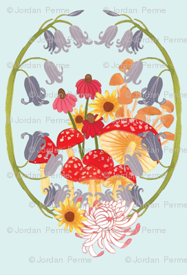 mushroom and flower cluster