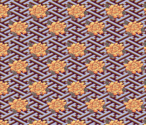 Golden Flowers on pewter plate fabric by eva_the_hun on Spoonflower - custom fabric