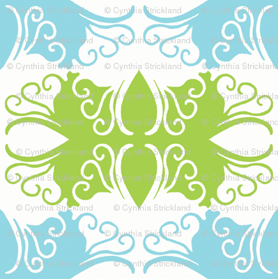 Cutwork In Green & Blue