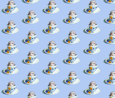 Hedgehog Tea In Blue fabric by golders on Spoonflower - custom fabric