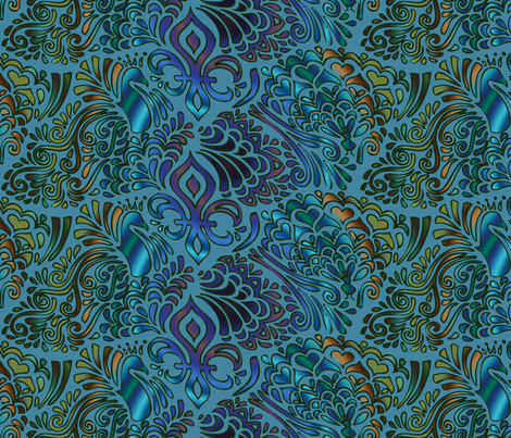 Peacock tessellation fabric by emilyclaire on Spoonflower - custom fabric