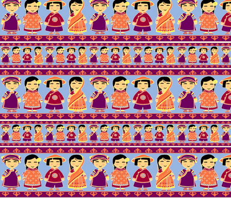 Asian Dolls on thin white fabric by thelazygiraffe on Spoonflower - custom fabric