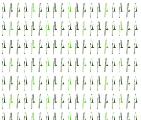 Green Trombones fabric by marchingbandstuff on Spoonflower - custom fabric