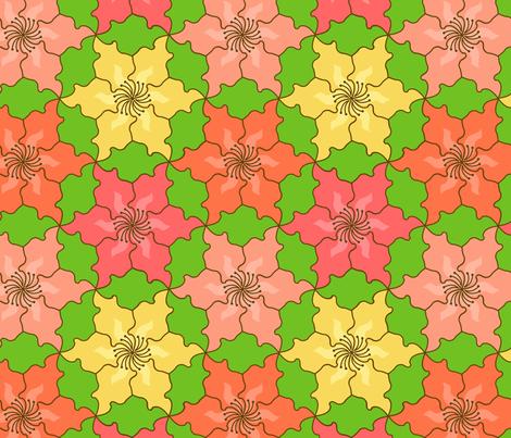 Hibiscus Tessellation fabric by sarahb on Spoonflower - custom fabric
