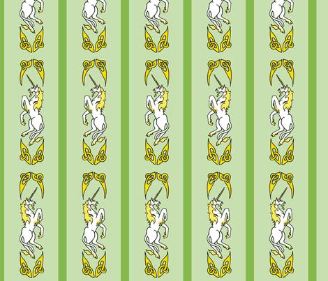 unicorn ribbon 1 green gold fabric by ingridthecrafty on Spoonflower - custom fabric