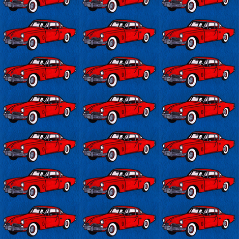 Red 1954 Studebaker 2 door on navy background fabric by edsel2084 on Spoonflower - custom fabric