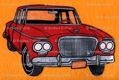 red Studebaker Lark (twin headlight era) on orange background)