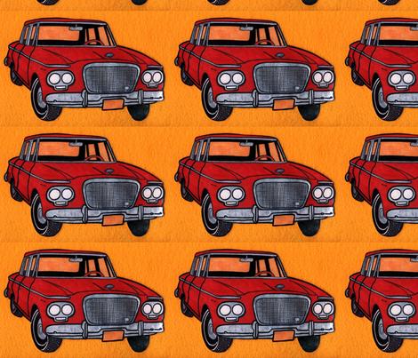 red Studebaker Lark (twin headlight era) on orange background) fabric by edsel2084 on Spoonflower - custom fabric