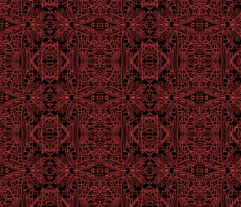 Red Flowers on Black fabric by kristenstein on Spoonflower - custom fabric