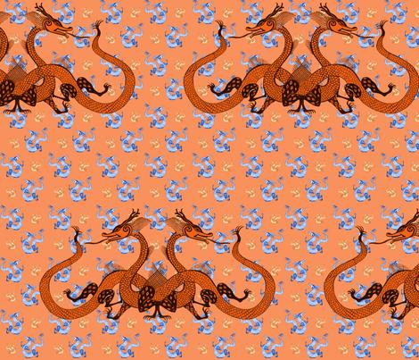 Orange Chinese Dragons fabric by eva_the_hun on Spoonflower - custom fabric
