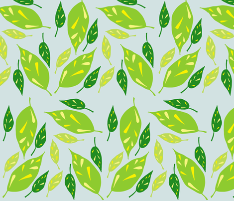 Scattered Green Leaves fabric by toni_elaine on Spoonflower - custom fabric