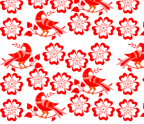 red birds in red blossoms fabric by eva_krasilni_razbor on Spoonflower - custom fabric