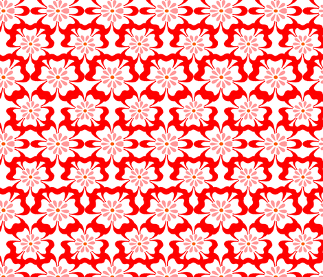 red and white floral design no. 01 fabric by eva_krasilni_razbor on Spoonflower - custom fabric