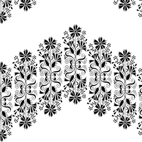floral zigzag black and white design