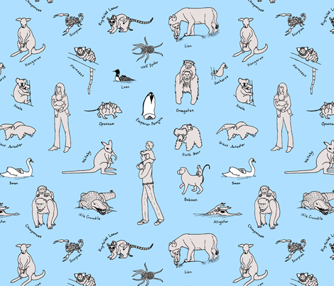 baby_carriers_rework_blue_background fabric by victorialasher on Spoonflower - custom fabric