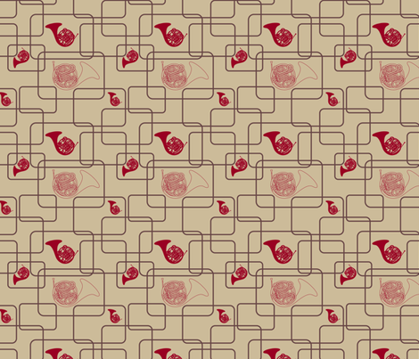 Retro Horns fabric by marchingbandstuff on Spoonflower - custom fabric
